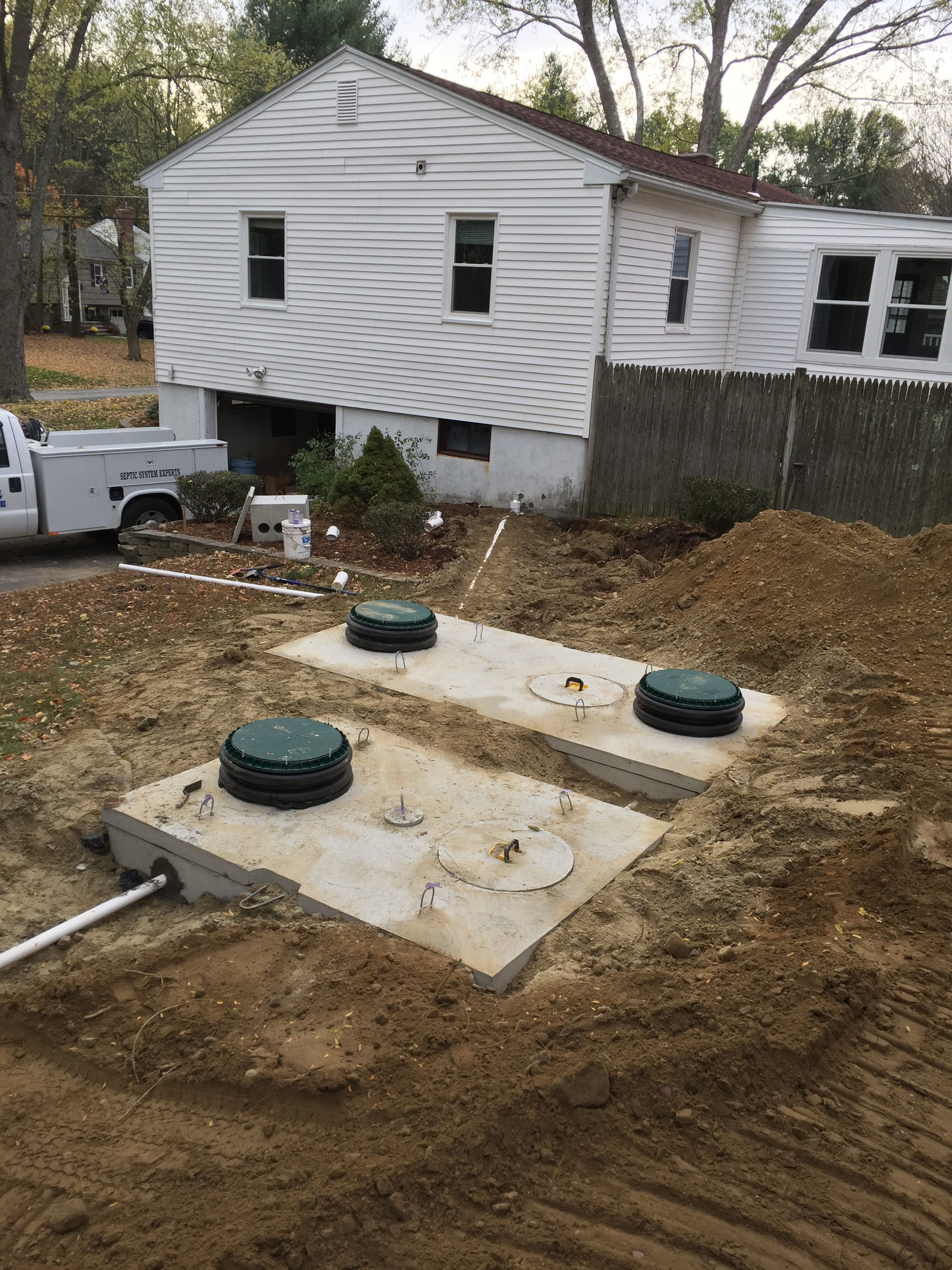 Septic tank pump chamber w raised access points for Design septic system